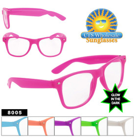 Glow In The Dark Sunglasses - Clear Lens California Classics - Style # 8005 (Assorted Colors) (12 pcs.)