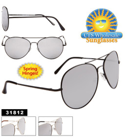 Wholesale Mirrored Aviators - Style #31812 Spring Hinge (Assorted Colors) (12 pcs.)