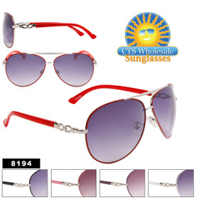 Wholesale Women's Aviator Sunglasses - 8194 (Assorted Colors) (12 pcs.)