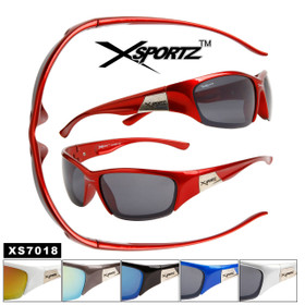 Xsportz™ Men's Sports Sunglasses Wholesale - Style # XS7018 (Assorted Colors) (12 pcs.)