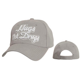 "Wholesale Baseball Cap C5210 (1 pc.) Embroidered ""Hugs Not Drugs"""