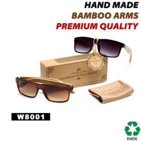 Men's Bamboo Wood Temple Sunglasses - Style #W8001 (Assorted Colors) (12 pcs.)