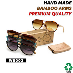 Aviators Bamboo Wood Temple Sunglasses  - Style #W8002 (Assorted Colors) (12 pcs.)