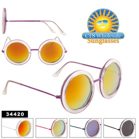 Mirrored Sunglasses by the Dozen - Style #34420 (Assorted Colors) (12 pcs.)