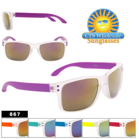 Unisex Wholesale Sunglasses - Style #867 (Assorted Colors) (12 pcs.)