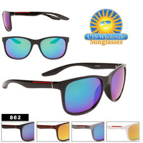 Mirrored Unisex Wholesale Sunglasses - Style #862 (Assorted Colors) (12 pcs.)