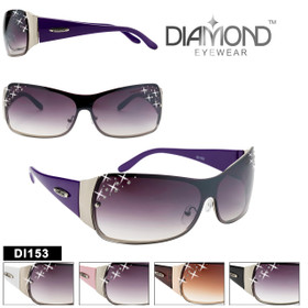 Diamond™ Eyewear Rhinestone Wholesale Sunglasses - Style #DI153 (Assorted Colors) (12 pcs.)