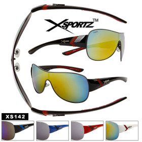 Bulk Mirrored Xsportz™ Sunglasses - Style #XS142 (Assorted Colors) (12 pcs.)