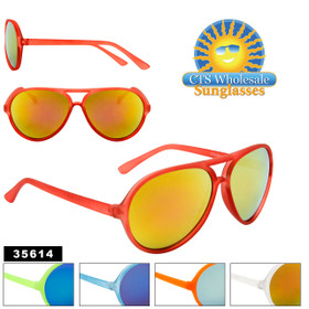 Wholesale Mirrored Aviator Sunglasses - Style #35614 (Assorted Colors) (12 pcs.)