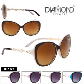 Bulk Cat-Eye Rhinestone Sunglasses - Style #DI157 (Assorted Colors) (12 pcs.)