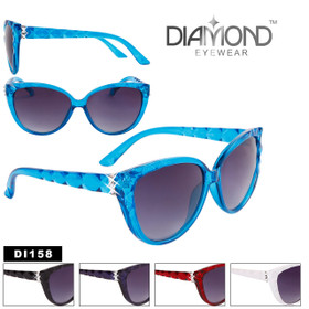 Bulk Rhinestone Cat Eye Sunglasses - Style #DI158 (Assorted Colors) (12 pcs.)