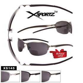 Xsportz™ Bi-Focal Sunglasses Wholesale - Style #XS145 Lens Strengths +1.00—+3.50 (Assorted Colors) (12 pcs.)