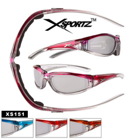 Xsportz™ Wholesale Motorcycle Sunglasses - Style #XS151 Foam Padded (Assorted Colors) (12 pcs.)