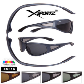 Men's Wrap Around Polarized Xsportz™ Sunglasses - Style #XS616 (Assorted Colors) (12 pcs.)