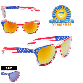 American Flag California Classics with Mirror Lens - Style #882 (Assorted Colors) (12 pcs.)