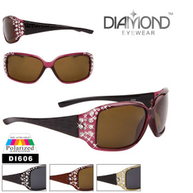 Diamond™ Polarized Rhinestone Etched Temple Sunglasses - Style #DI606