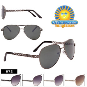 Aviator Sunglasses with Chain Temple - Style #872
