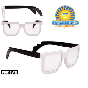 Wholesale Pixelated Clear Sunglasses - Style #P8011WB