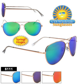 Mirror Aviator Sunglasses - Style #6111 Spring Hinge (Assorted Colors) (12 pcs.)