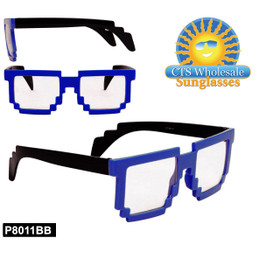 Blue Pixelated Clear Sunglasses - Style #P8011BB (12 pcs.)
