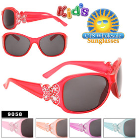 Butterfly Sunglasses for Girls 9058 Painted Faux Rhinestone Technique (Assorted Colors) (12 pcs.)