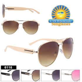 Aviator Sunglasses - Style #6116 (Assorted Colors) (12 pcs.)