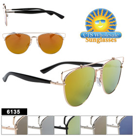 Hipster Aviator Sunglasses - Style #6135 (Assorted Colors) (12 pcs.)