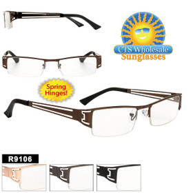 Metal Reading Glasses Wholesale - R9106 Spring Hinges (12 pcs.) Assorted Colors ~ Lens Strengths +1.00—+3.50