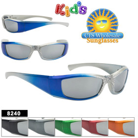 Mirrored Spider Web Sunglasses For Kids - Style #8240 (Assorted Colors) (12 pcs.)