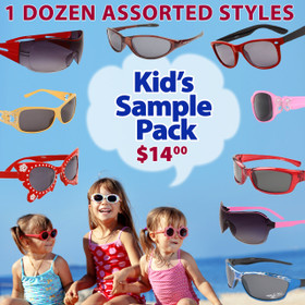 Package Deal 12 Pair Assorted Kid's Style Sunglasses SPK1 (12 pcs.) (Assorted Colors)