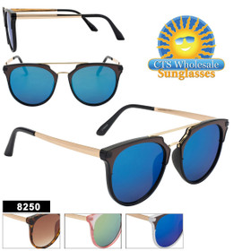 Bulk Mirrored Sunglasses - Style #8250 (Assorted Colors) (12 pcs.)