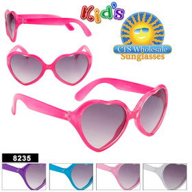 Wholesale Kid's Heart Sunglasses - Style #8235 (Assorted Colors) (12 pcs.)