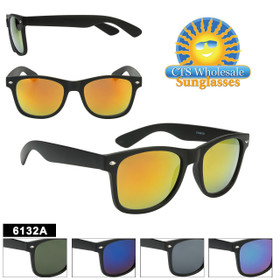 Bulk Mirrored Classic Sunglasses - Style #6132A (Assorted Colors) (12 pcs.)
