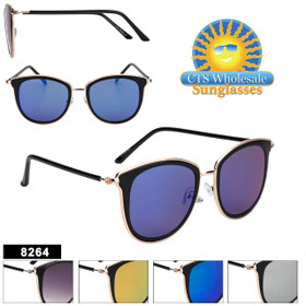 Mirrored Women's Retro Sunglasses - Style #8264 (Assorted Colors) (12 pcs.)