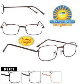 Bulk Metal Reading Glasses - R9101 Spring Hinges! (12 pcs.) Assorted Colors ~ Lens Strengths +1.00—+3.50