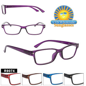 Reading Glasses in Bulk - R9074 (12 pcs.) Assorted Colors ~ Lens Strengths +1.00—+3.50