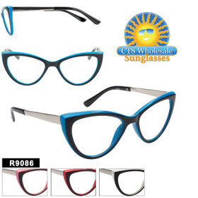 Retro Cat-Eye Reading Glasses - R9086 (12 pcs.) Assorted Colors ~ Lens Strengths +1.00—+3.50