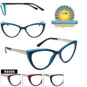 Retro Cat-Eye Reading Glasses - R9086 (12 pcs.) Assorted Colors ~ Lens Strengths +1.00—+3.50