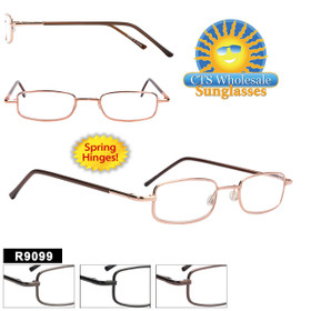Reading Glasses Wholesale - R9099 Spring Hinges! (12 pcs.) Assorted Colors ~ Lens Strengths +1.00—+3.50