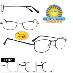 Wholesale Readers - R9103 Spring Hinge Temples (12 pcs.) Assorted Colors ~ Lens Strengths +1.00—+3.50