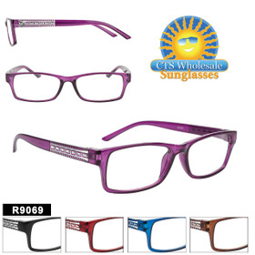 Reading Glasses in Bulk - R9069 (12 pcs.) Assorted Colors ~ Lens Strengths +1.00—+3.50