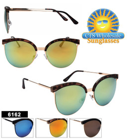 Women's Mirrored Sunglasses in Bulk  - Style #6162 (Assorted Colors) (12 pcs.)