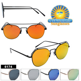 Bulk Mirrored Sunglasses - Style #6174 (Assorted Colors) (12 pcs.)