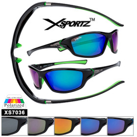 Bulk Polarized Xsportz™ Sports Sunglasses XS7036 (Assorted Colors) (12 pcs.)