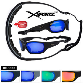 Xsportz™ Padded Sports Sunglasses XS8000 - Removable Pads! (Assorted Colors) (12 pcs.)