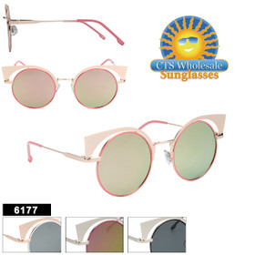 Bulk Cat Eye Sunglasses - Style #6177 (Assorted Colors) (12 pcs.)