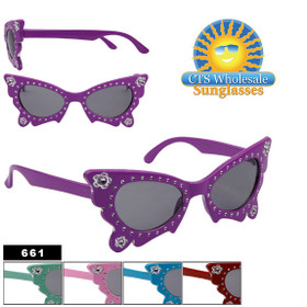 Butterfly Frame Girl's Sunglasses 661 Painted Faux Rhinestone Technique (Assorted Colors) (12 pcs.)