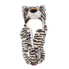 White Tiger Long Arm Animal Hat A130