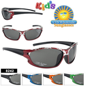Wholesale Kid's Sunglasses with Flames - Style #8242 (Assorted Colors) (12 pcs.)