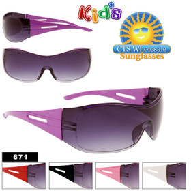 Sunglasses for Kid's 671 Stylish Single Lens (Assorted Colors) (12 pcs.)